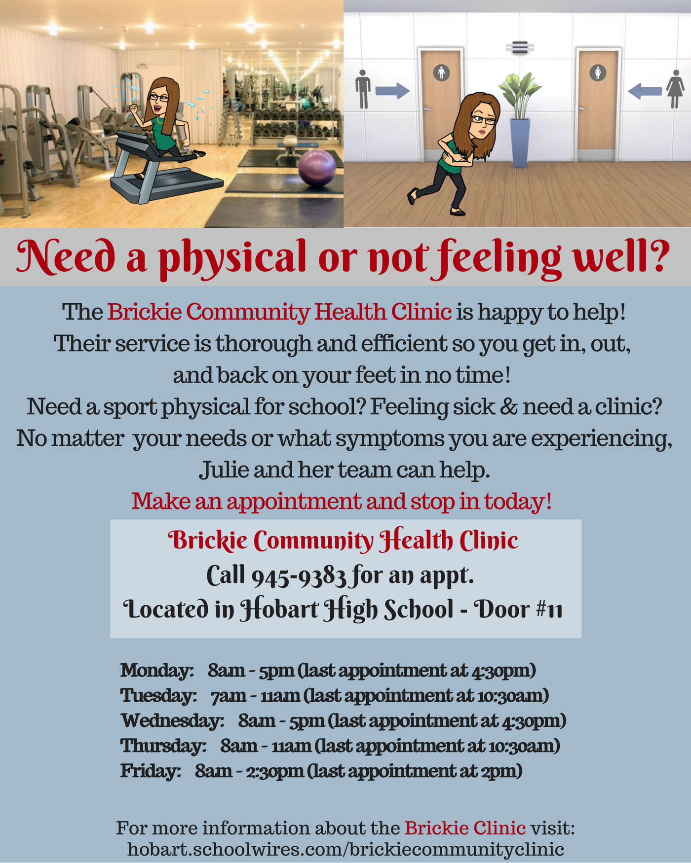 Need a physical or not feeling well? - visit the Brickie Clinic