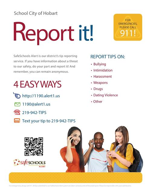 Safe Schools Report IT! Call - 942-TIPS