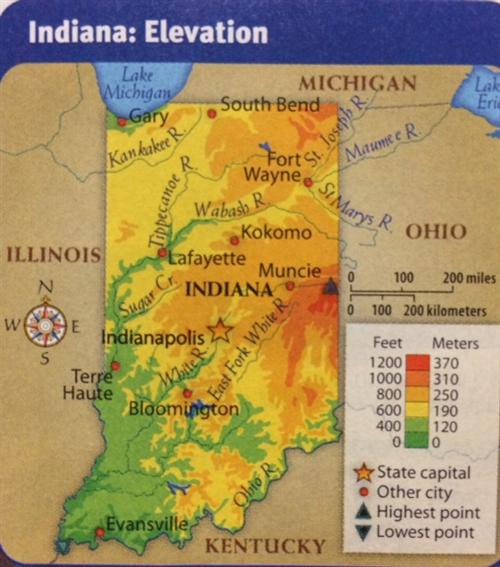 Jancich Shannon Elevation Map Of Indiana - Map of indiana