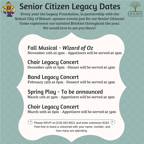 Legacy Foundation Events for our Senior Citizens