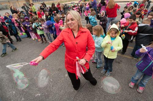 Mrs. Gutierrez with bubbles