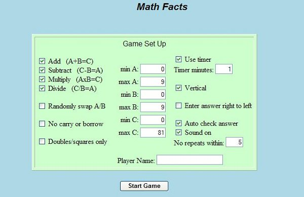 Math Facts Game Image